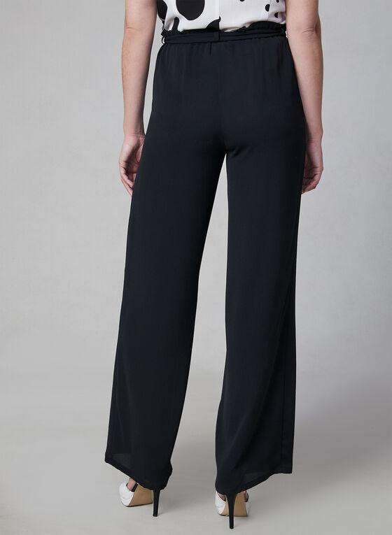 Wide Leg Tie Detail Pants, Black, hi-res
