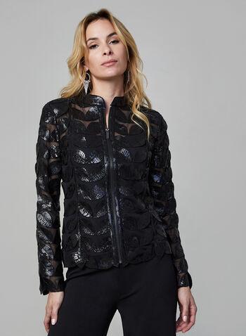 Joseph Ribkoff - Veste zippée à feuilles, Noir,  veste, ouverte, manches longues, feuilles, métallisées, maille filet, automne hiver 2019