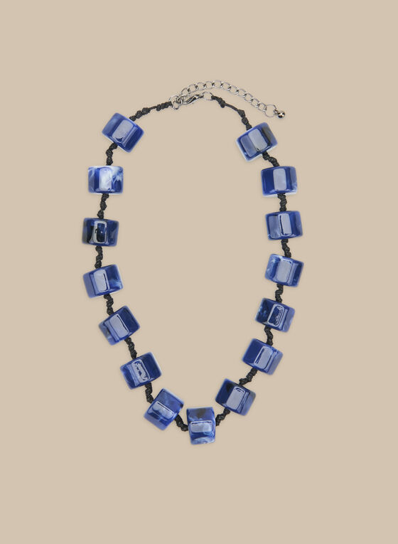 Short Marble Bead Necklace, Blue