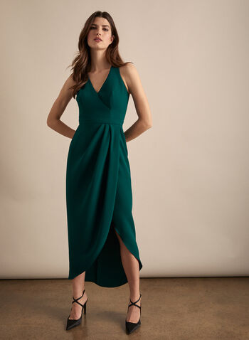 BA Nites - Faux Wrap Evening Dress, Green,  dress, occasion, evening, crepe, sleeveless, v-neck, wrap, spring summer 2020