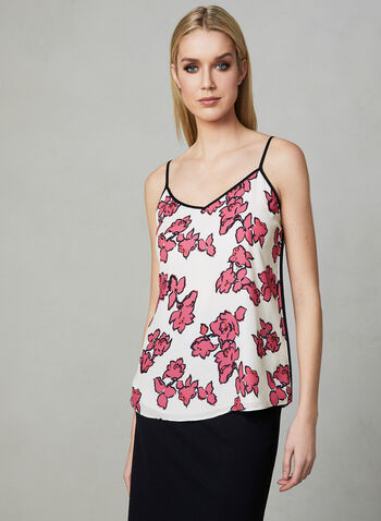 Sleeveless Crepe Top, Red, hi-res