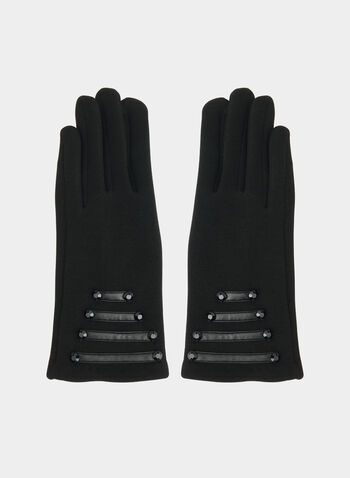 Gloves With Pu Detail , Black, hi-res,  gloves, pu gloves, pu, beads, fall 2019, winter 2019