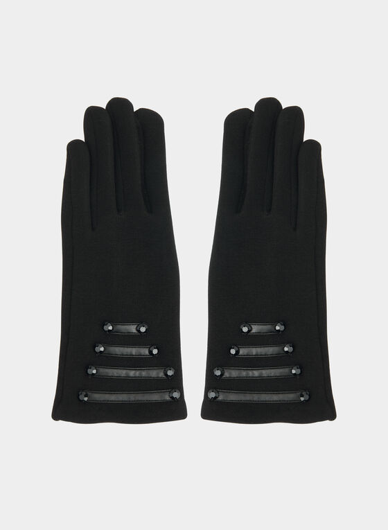 Gloves With Pu Detail , Black
