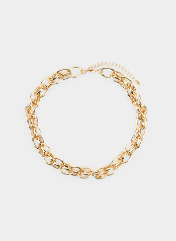Short Interlink Chain Necklace  , Gold,  necklace, chunky interlink chain, fall 2019