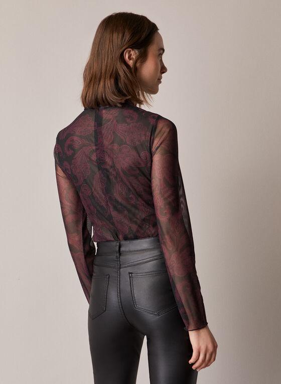 Haut motif baroque en maille filet, Noir