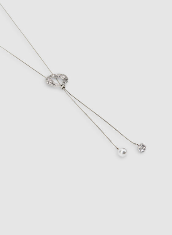 Pearl Crystal Detail Necklace, Silver, hi-res