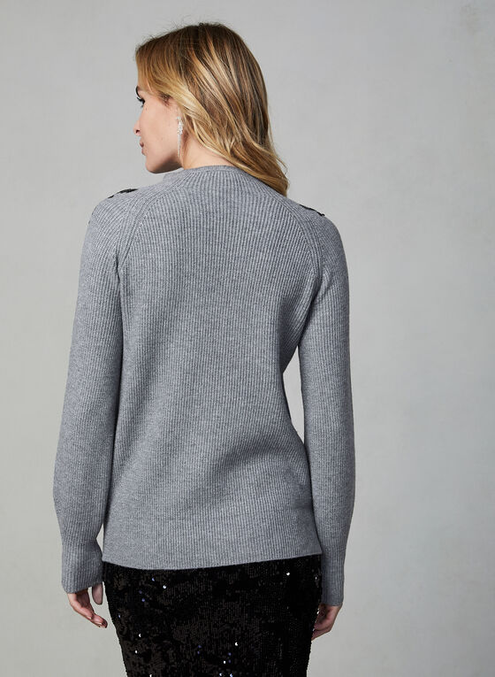Sequin Detail Sweater, Grey
