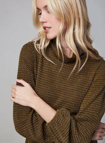 Cowl Neck Top, Brown, hi-res,  Canada, long sleeves, balloon sleeves, cowl neck, fall 2019, winter 2019