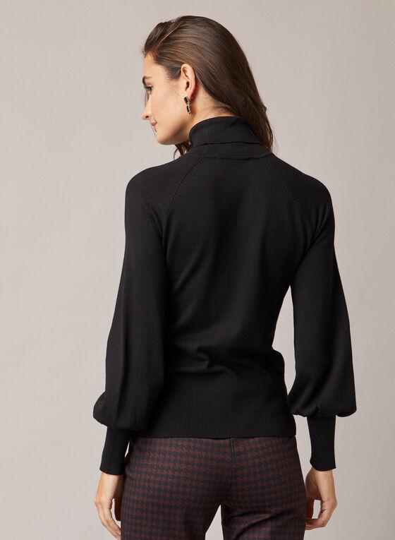 Balloon Sleeve Turtleneck Sweater, Black