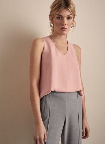 Sleeveless Crepe Blouse, Pink,  blouse, top, sleeveless, V-neck, crepe, spring 2020