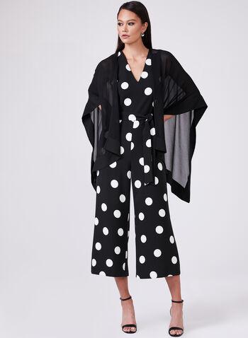 Karl Lagerfeld Paris - Poncho en mousseline, Noir, hi-res