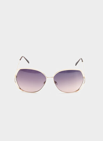 Large Metal Frame Sunglasses , Gold, hi-res