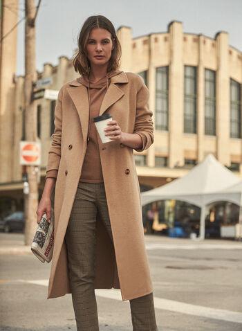 Manteau en laine mélangée à col tailleur, Beige,  manteau, laine mélangée, col tailleur, manches longues, double boutonnage, coupe droite, extérieur, automne hiver 2021