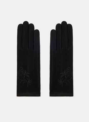 Embroidered Knit Gloves, Black, hi-res