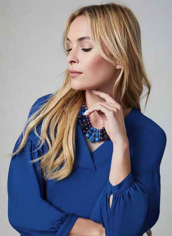 ¾ Sleeve Crepe Blouse, Blue, hi-res,  3/4 sleeves, V-neck, fall 2019