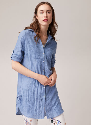 Alison Sheri - Denim-Like Tencel Blouse, Blue,  blouse, top, shirt collar, rolled sleeves, button front, tencel, denim, pockets, crumpled, spring summer 2020