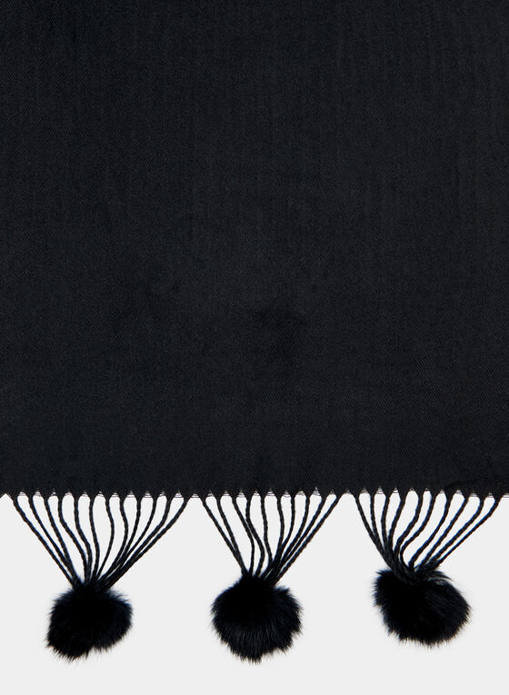 Pompom Fringe Wrap, Black, hi-res