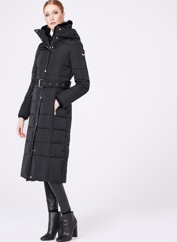 Novelti - Faux Fur Collar Quilted Down Coat, Black, hi-res