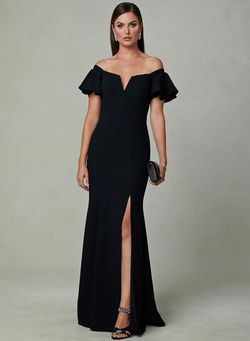 BA Nites - Off The Shoulder Flared Dress, Black, hi-res