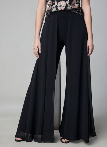 Frank Lyman - Chiffon Wide Leg Pants, Black,  pull-on, spring 2019, jersey