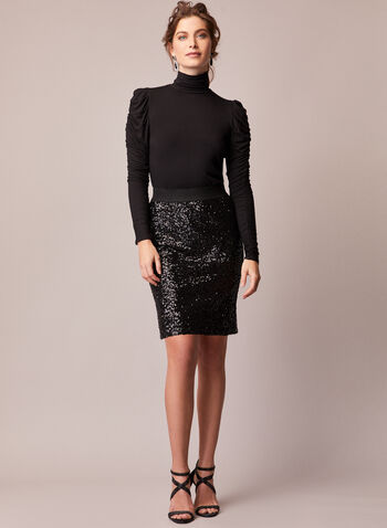Sequin Pencil Skirt, Black,  fall winter 2020, sequin, pencil, skirt, shine, glitz, glam, elastic waist, pull-on, pull on, monochrome, holiday, festive