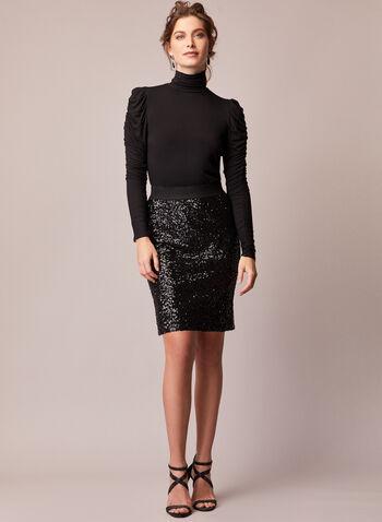 Jupe crayon à sequins, Noir,  automne hiver 2020, jupe, pull-on, à enfiler, taille élastique, tricot, crayon, sequins, strass, paillettes