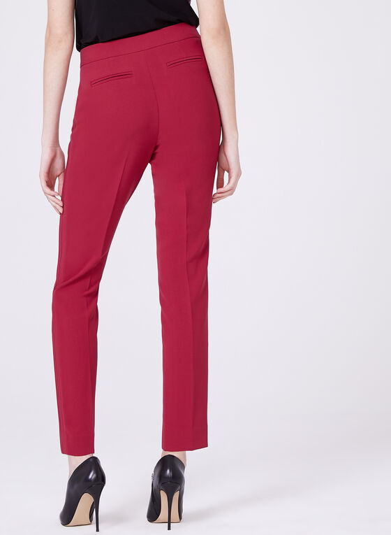 Slim Leg Ribbed Pants, Red, hi-res