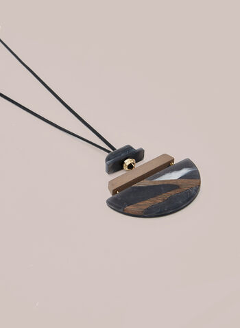 Semicircle Pendant Necklace, Black,  necklace, cord, semicircle, marbled, resin, rectangular, fall winter 2020