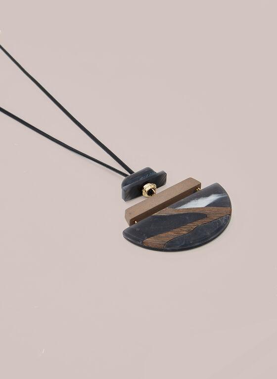 Semicircle Pendant Necklace, Black