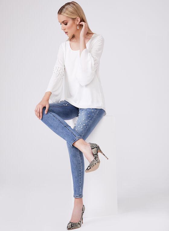 Pearl Embellished Slim Leg Jeans, Blue, hi-res