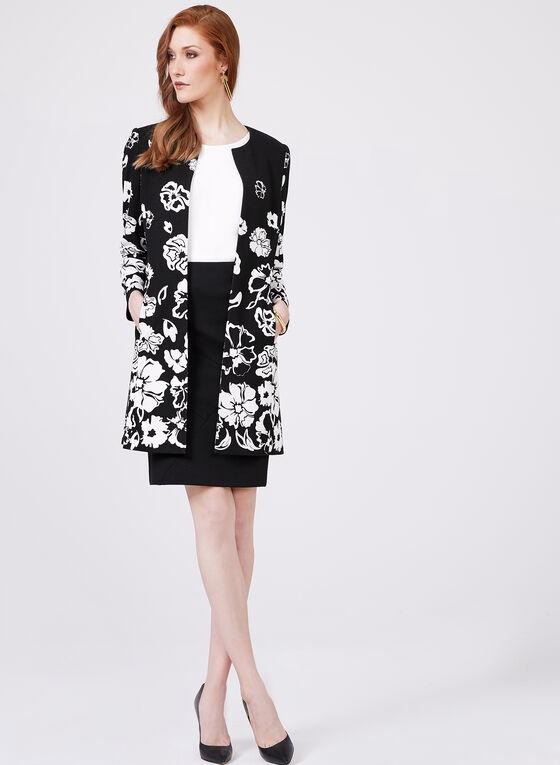 Veste ouverte à imprimé floral , Noir, hi-res