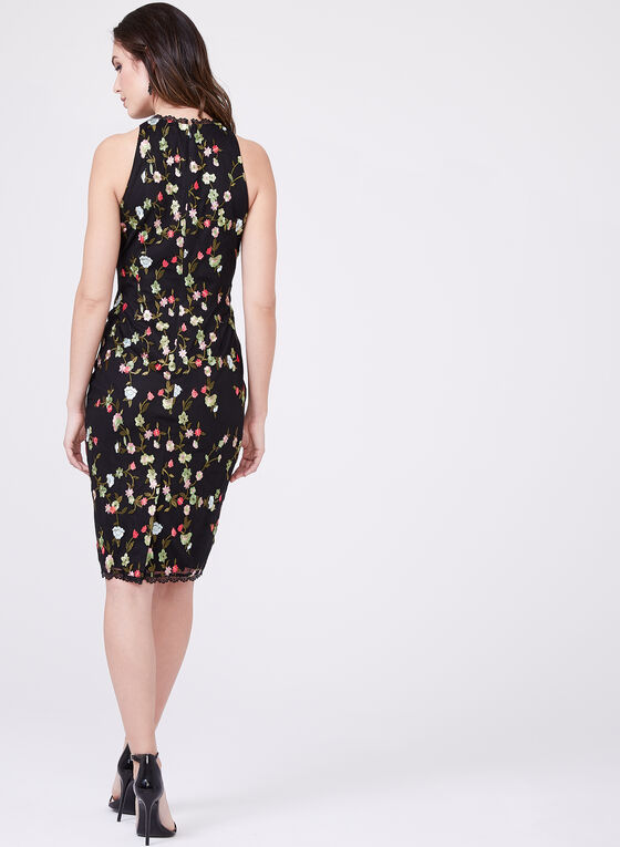 Adrianna Papell - Floral Embroidered Sheath Dress, Black, hi-res