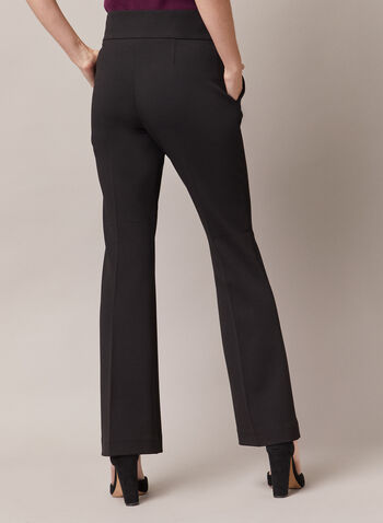 Flared Leg Zipper Detail Pants, Black,  pants, flared, pockets, zipper, high rise, ponte di roma, pleats, fall winter 2020