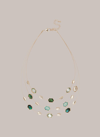 Triple Row Faceted Stone Necklace, Green,  Fall winter 2020, jewellery, necklace, faceted stones, accessories, triple, three rows, metallic