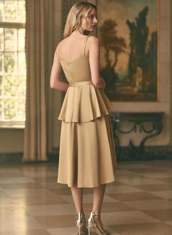 Satin Peplum Style Dress, Gold