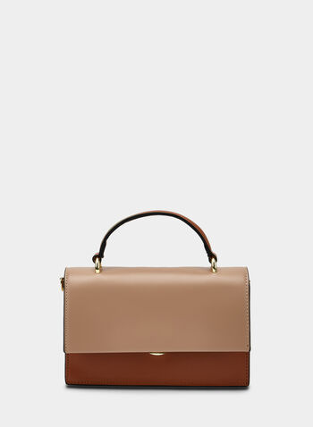 Contrast Flapover Satchel , Brown, hi-res,  faux leather, fall 2019, winter 2019