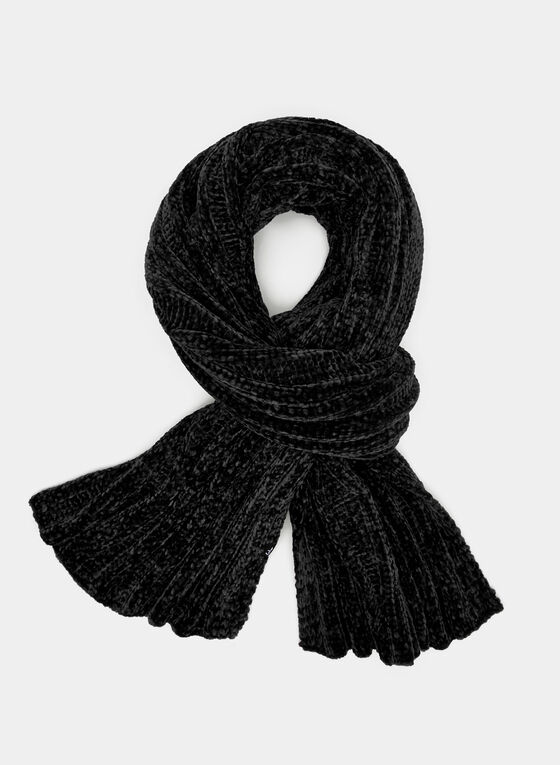 Chenille Knit Scarf, Black, hi-res