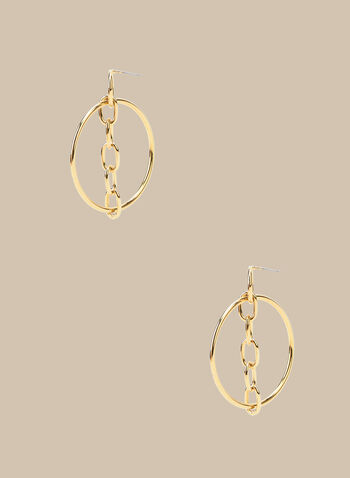Chain Link Detailed Hoop Earrings, Gold,  earrings, hoop earrings, metallic, metallic earrings, chain link, spring 2020, summer 2020