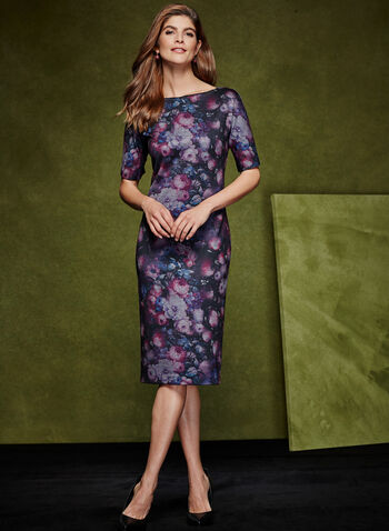 Floral Print Sheath Dress, Red, hi-res