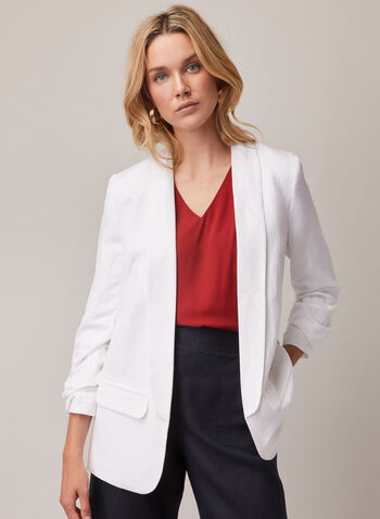 Open Front Linen Blazer, White,  blazer, linen, open front, faux pockets, ruched, spring summer 2020
