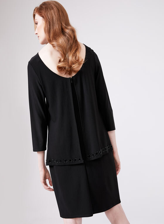 Cartise - Embellished Neckline Dress, Black, hi-res