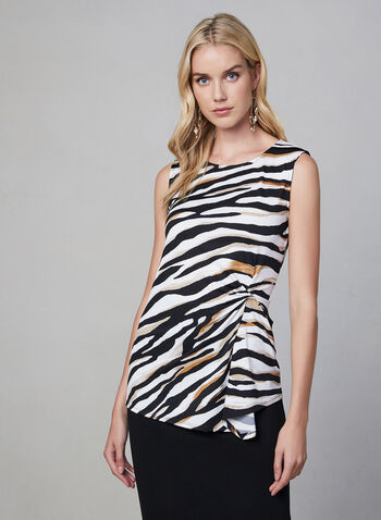 Zebra Print Top, White, hi-res,  fall winter 2019, scoop neck, sleeveless, top, animal print