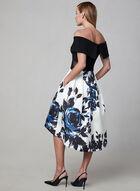 BA Nites - Robe midi avec jupe fleurie, Noir