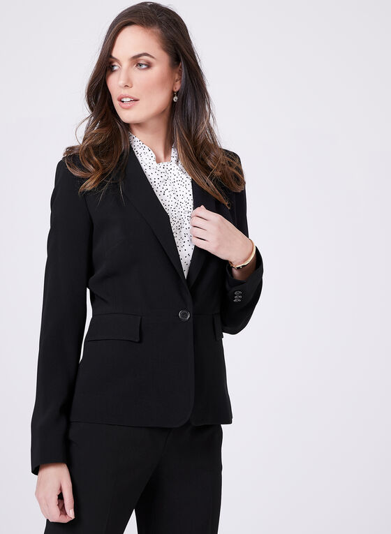 Louben - Short Notched Collar Blazer, Black, hi-res