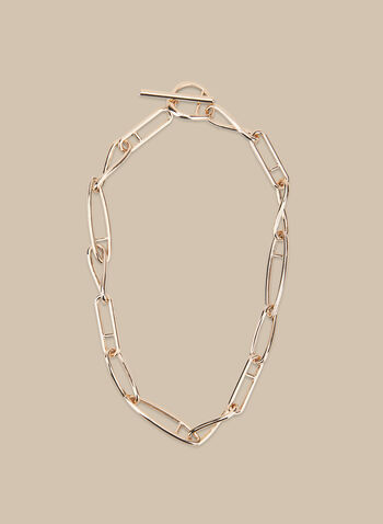 Metal Link Necklace, Gold,  spring summer 2020, metal links, toggle closure