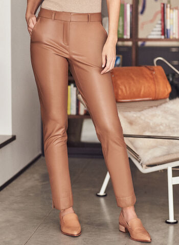 Leather-Like Slim Leg Pants, Brown,  pants, trousers, pleated, slim leg, slits, fall winter 2020