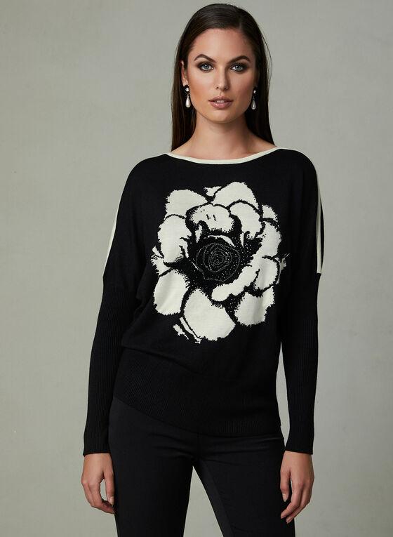 Vex - Pull contrastant à fleur et strass, Noir, hi-res