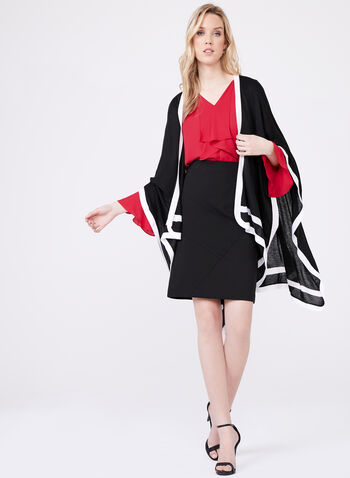 Oversized Contrast Trim Scarf , Black, hi-res