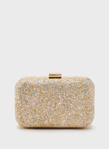 Crystal Pavé Box Clutch, White, hi-res