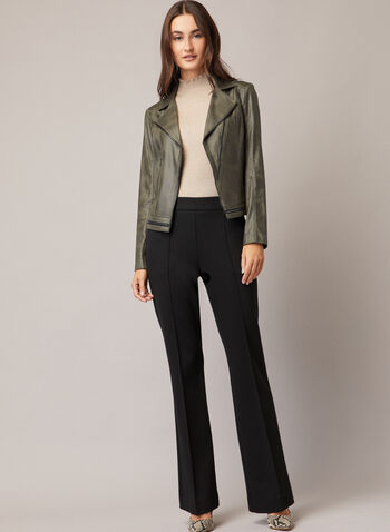 Vex - Faux Leather Zipper Detail Jacket, Green,  jacket, faux leather, zipper detail, notched collar, fall winter 2020